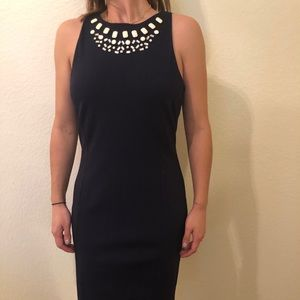 Fitted Navy Jewel Neck Dress - like new!